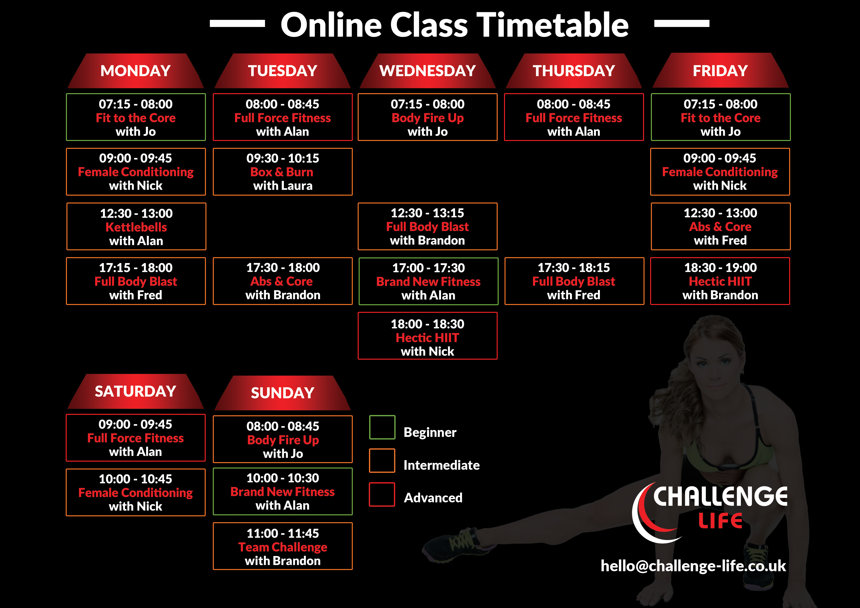 Fitness Class Timetable