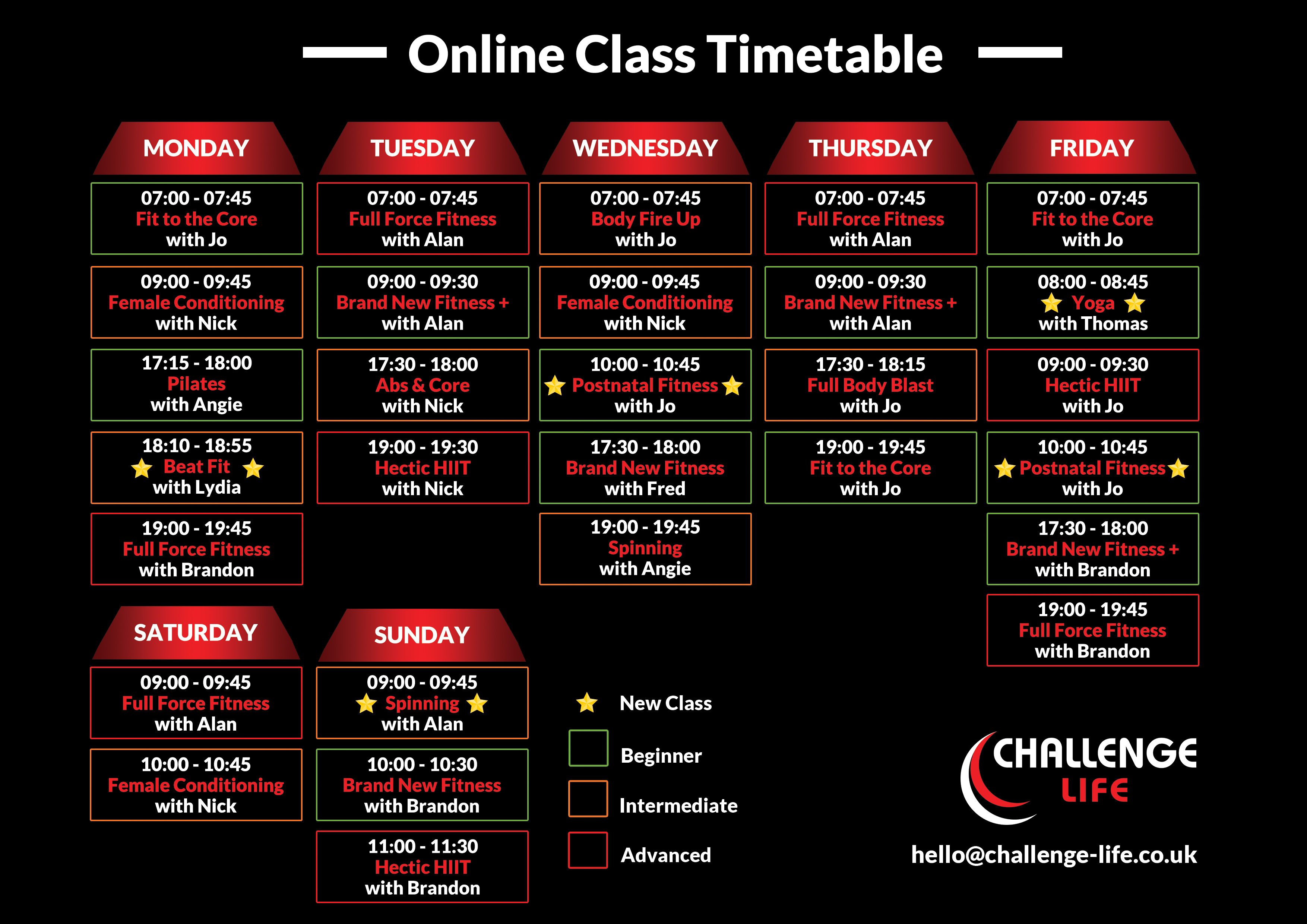Online Fitness Timetable