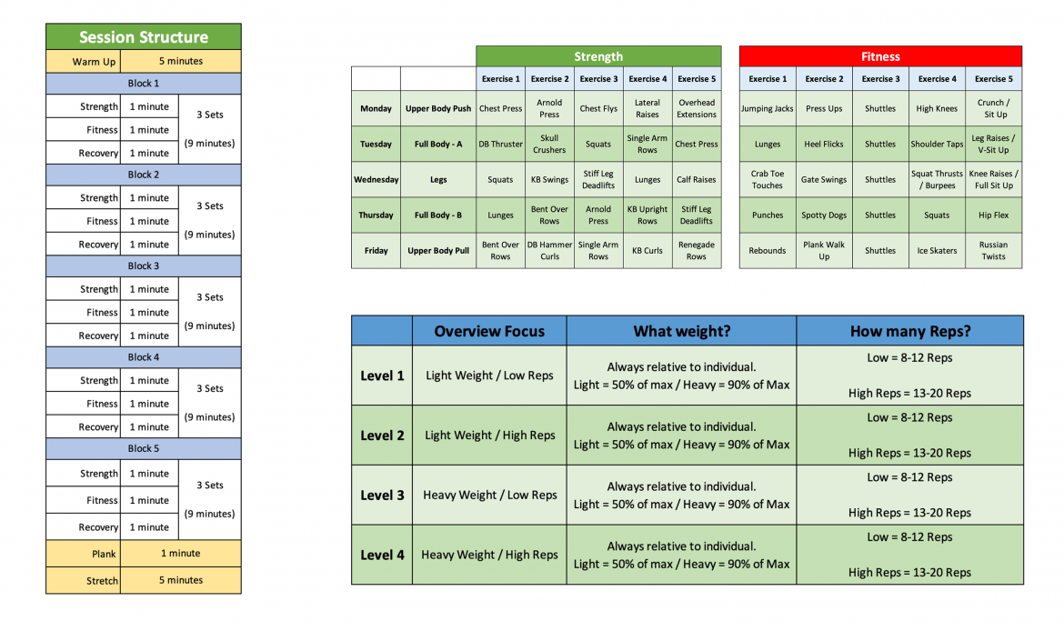 Outdoor Fitness Timetable