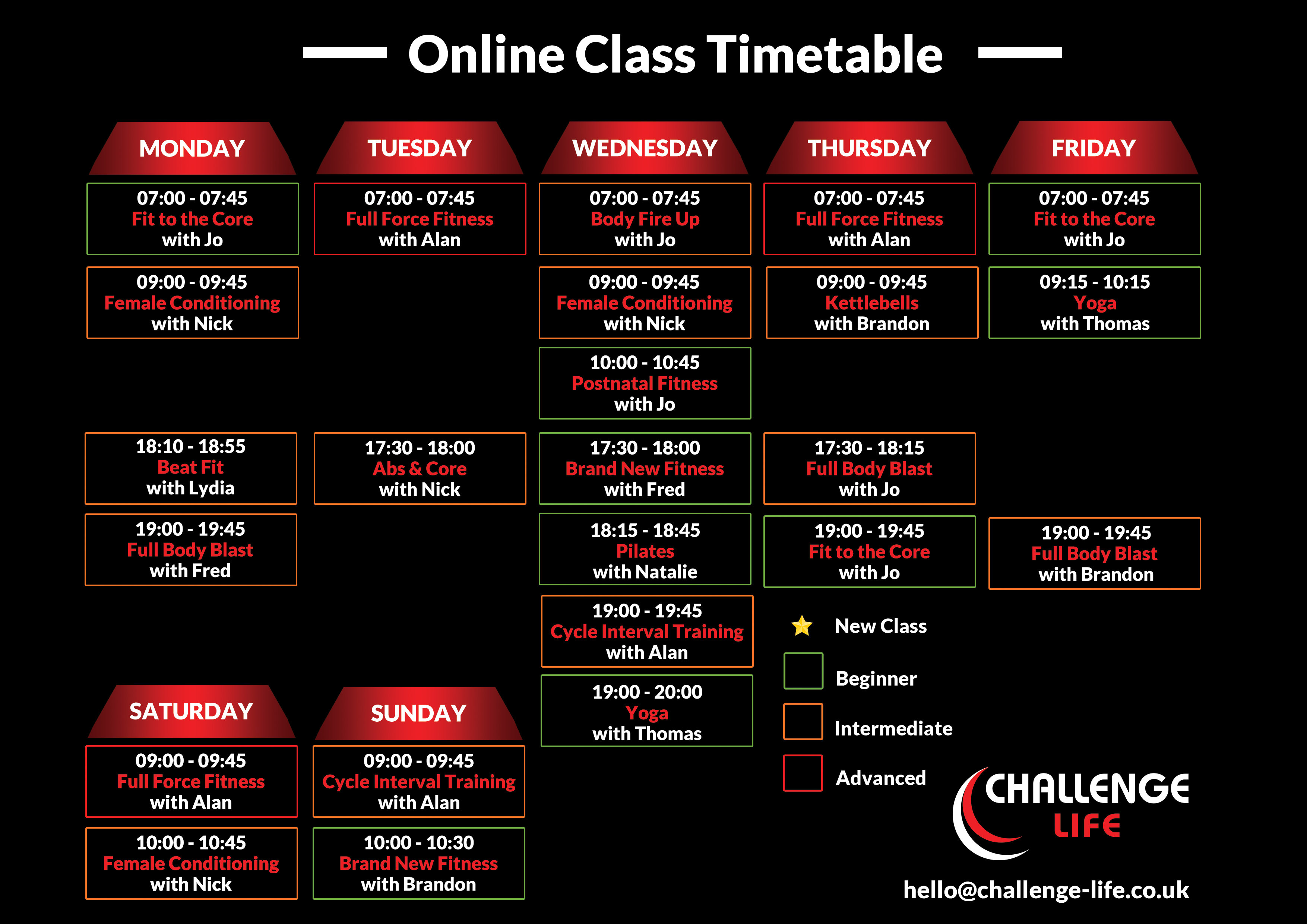 Online Class Timetable